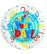 "9"" Airfill Only It's Your Day! Primary Colors Foil Balloon"