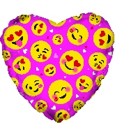 "17"" Smile Faces Emoji Pink Foil Balloon"