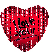 "18"" I Love You With Arrow Foil Balloon"