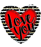 "18"" Love You Stripes Foil Balloon"