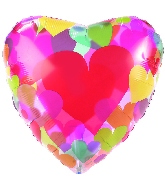 "18"" Clear Balloon Colorful Hearts"