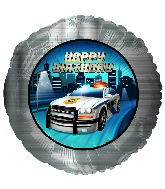 "18"" Happy Birthday Police Party Balloon"
