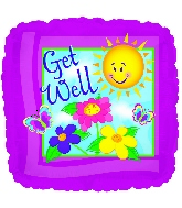 CTI Foil Balloon 114544 GET WELL COLORFUL BURST 17 Multicolored