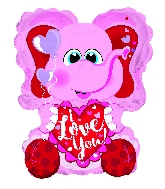 "10"" Airfill Only I Love You Pink Elephant Shape Balloon"