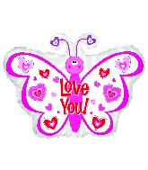 "12"" Airfill Only Love You Balloon Pink Hearts Butterfly"