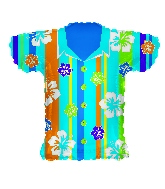 "20"" Blue Hawaiian Shirt Shape Balloon"