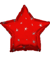 "18"" Red Sparkle Star Foil Balloon"