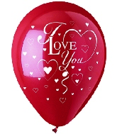 "12"" Red/White Hearts ""I Love You"" Latex 50's"