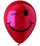 "12"" Crystal Red Winking Smiley Face Latex 50's"