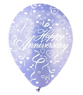 "12"" Pastel Assorted ""Happy Anniversary"" Latex 50's"