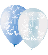 "12"" 50 Pack Felix Bautizo Latex Clear and Blue"