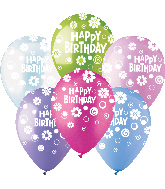 "12"" HBD Dots & Daisies Assorted Latex 50Count"