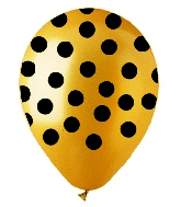 "12"" Metallic Gold with Black Polka Dot Latex 50's"