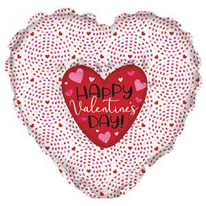 "36"" Happy Valentine&#39s Day Heart N Heart Foil Balloon"