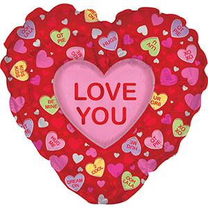"36"" Heart N Heart Love You Foil Balloon"