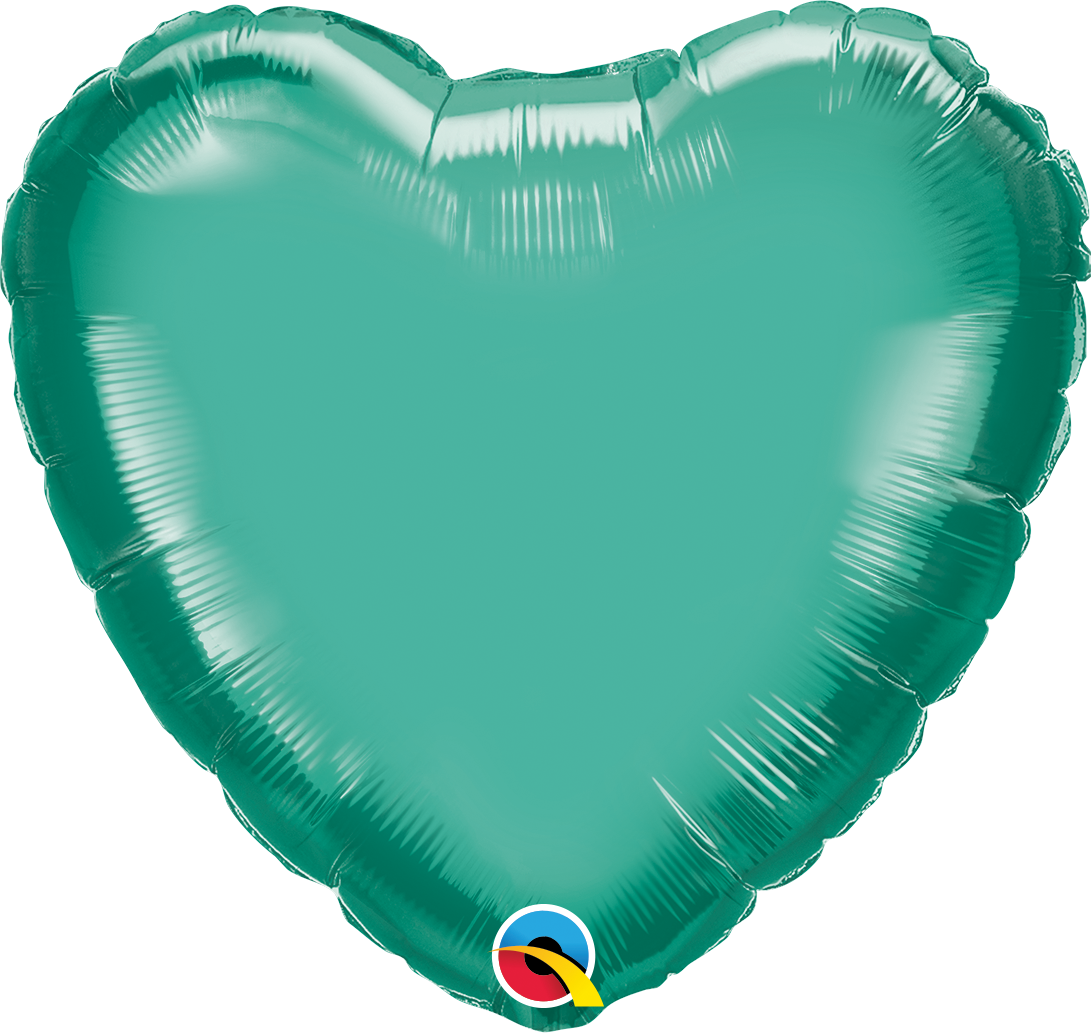 "18"" Heart Qualatex Chrome™ Green Foil Balloon"