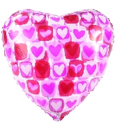 "9"" Airfill Only Heart Block Pattern Clear Foil Balloon"