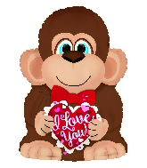 "10"" Airfill Only I Love You Monkey With Bowtie Foil Balloon"