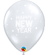 "11"" New Year Sparkles Clear Latex Balloons (50 Per bag)"