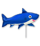 Airfill Only Foil Shaped Balloon Happy Shark Blue