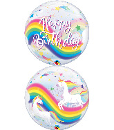 "22"" Birthday Rainbow Unicorns Bubble Balloon"