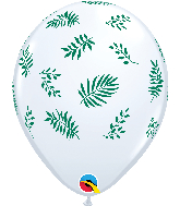 "11"" Tropical Greenery White Latex Balloons"