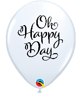 "11"" Simply Oh Happy Day White Latex Balloons"