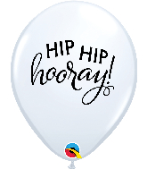 "11"" Simply Hip Hip Hooray White Latex Balloons"