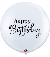 "36"" Simply Happy Birthday White Latex Balloons"