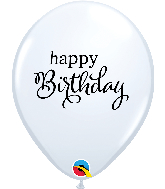 "11"" Simply Happy Birthday White Latex Balloons"