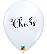 "11"" Simply Cheers White Latex Balloons"
