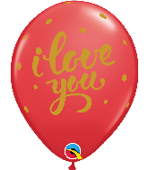 "11"" I Love You Bold Script Red Latex Balloons"