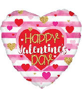 "18"" Happy Valentine&#39s Day Pink Stripes Foil Balloon"