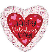 "18"" Happy Valentine&#39s Day Tiny Hearts Foil Balloon"