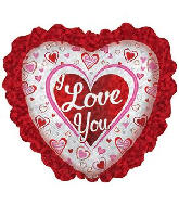 "32"" I Love You Prism Ruffle Heart Foil Balloon"