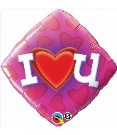 "18"" Love Heart U Packaged Mylar Balloon"