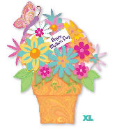 "35"" SuperShape Happy Mother's Day Flower Pot Balloon"