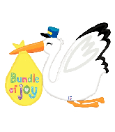 "43"" Foil Shape Balloon Baby Bundle Stork"