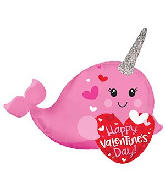 "12"" Airfill Only Happy Valentine&#39s Day Narwhal Foil Balloon"