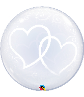 "24"" Deco Bubble Balloon Entwined Hearts"