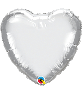 "18"" Heart Qualatex Chrome™ Silver Foil Balloon"