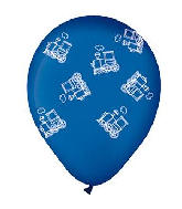 "12"" Midnight Blue with Trains Latex Balloons (50 Per Bag)"