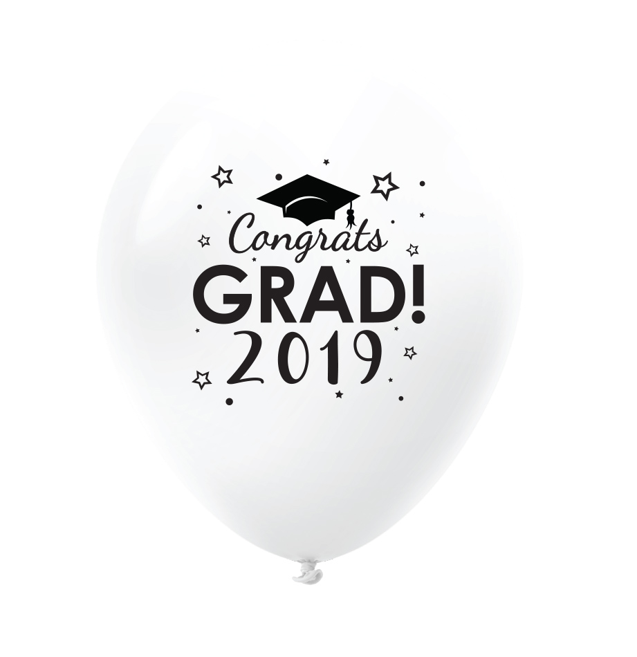 "11"" Congrats Grad 2019 Latex Balloons 25 Count White"