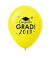 "11"" Congrats Grad 2019 Latex Balloons 25 Count Yellow"