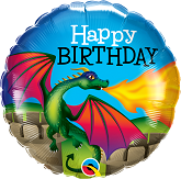 "18"" Happy Birthday Mythical Dragon Foil Balloon"