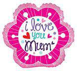 "18"" I Love You Mum Flower Foil Balloon"
