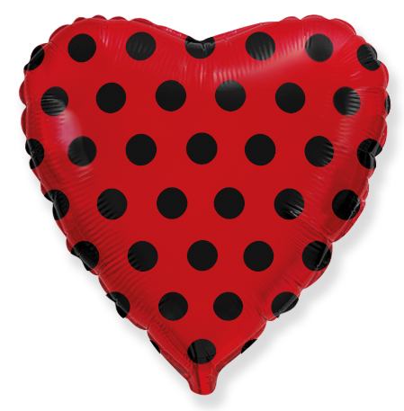 "18"" Red Dots Black Foil Balloon"