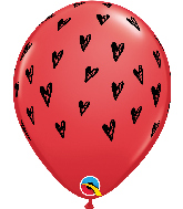 "11"" Red (50 Per Bag) Prickly Heart Seeds Latex Balloons"