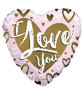 "36"" I Love You Gold & Pink Matte Foil Balloon"