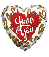 """18"""" I Love You Golden Hearts Holographic Foil Balloon"""